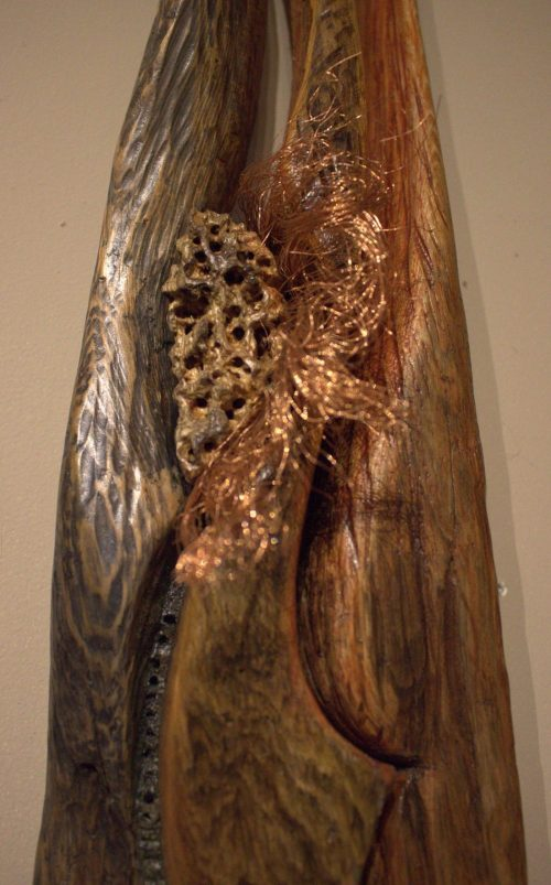 Emerging Dancer - Carved Driftwood, Copper, Resin, Pigment and Sand