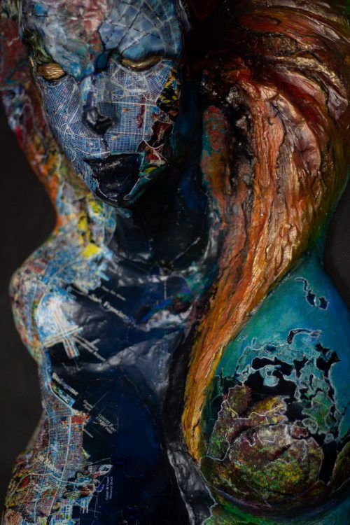 Impact - Mixed media Sculpture – Hydrostone -