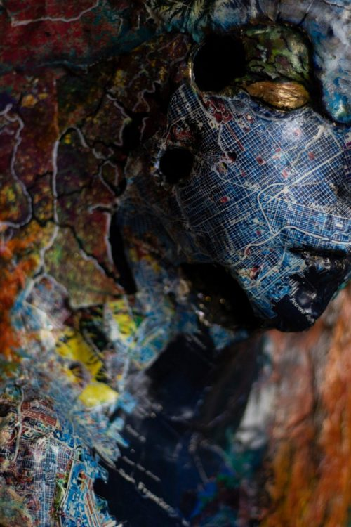 Impact Close UP - Mixed media Sculpture – Hydrostone -