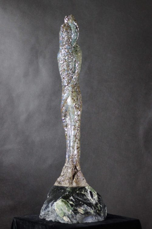 Solid Ground - Glass, Pigmented Resin & Cold Cast Bronze on Stone Base