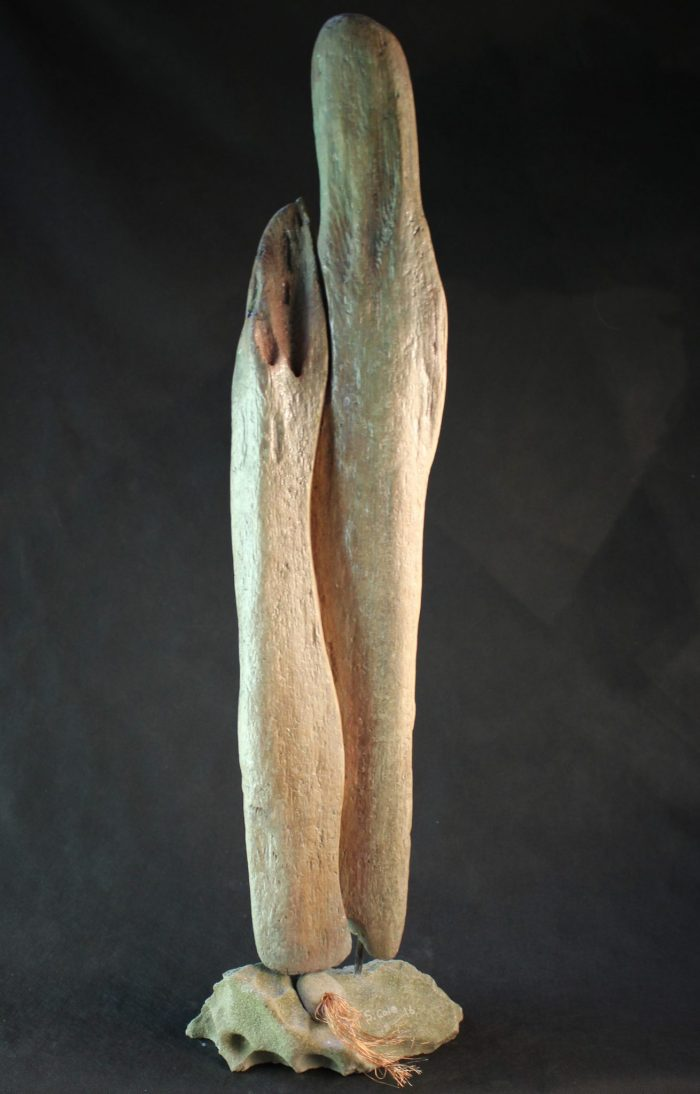 Waiting - Carved Driftwood, Sandstone and Copper